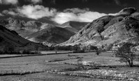 The Langdales, Lake District in black and white